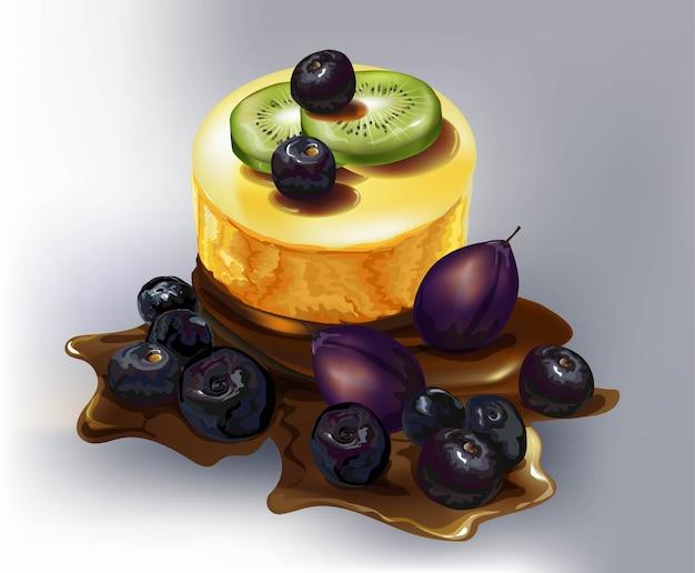 Gâteau aux fruits, prune, mûre, tranche de kiwi