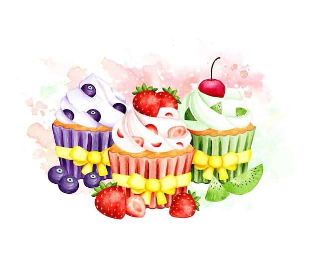 Gâteau aux myrtilles aquarelle