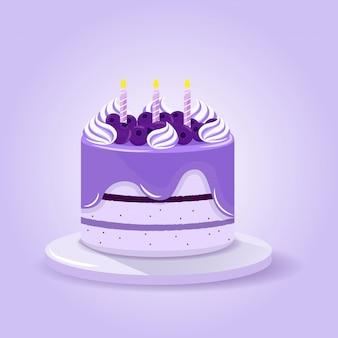Gâteau aux myrtilles et aux violettes