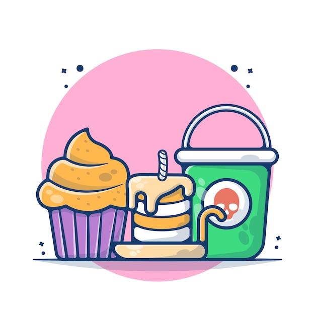 Gâteau et bougie avec illustration vectorielle seau