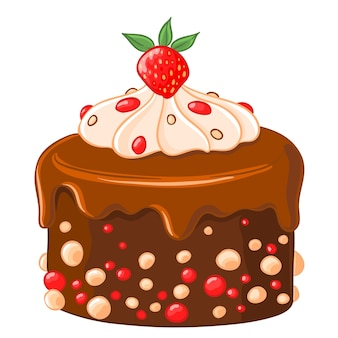 Gâteau de chocolat-icône de dessin animé avec du sirop de caramel, des fraises et de la crème fouettée.