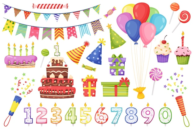 Gâteau de décoration de fête d'anniversaire de dessin animé avec des bougies, des drapeaux de banderoles de couleur, des ballons, un ensemble de vecteurs de boîte-cadeau
