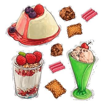 Gâteau dessert pudding et illustration aquarelle crème