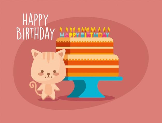 Gâteau de dessin animé de chat et joyeux anniversaire