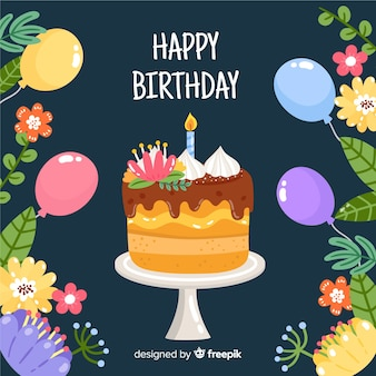 Gâteau dessiné à la main avec fond d'anniversaire de fleurs