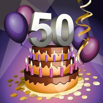 Gâteau du cinquantième anniversaire avec chiffres, bougies et ballons