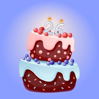 Gâteau festif de dessin animé mignon anniversaire de vingt-six ans avec numéro de bougie