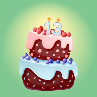 Gâteau de fête d'anniversaire de dessin animé mignon 13 ans avec le numéro de bougie douze. biscuit au chocolat avec des baies, des cerises et des myrtilles.