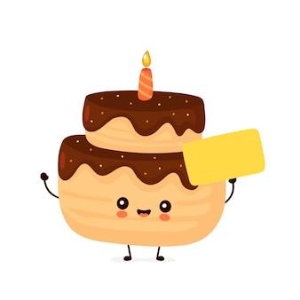 Gâteau de fête d'anniversaire mignon avec signe vide