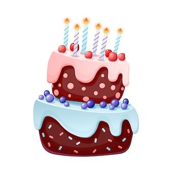 Gâteau de fête de dessin animé mignon avec des bougies. biscuit au chocolat avec des cerises et des myrtilles.