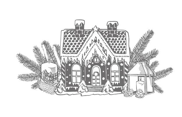 Gâteau de fête en forme de maison de village décorée dans le style de noël et branches d'arbres de noël et bougie. éléments de conception de nouvel an et de noël.