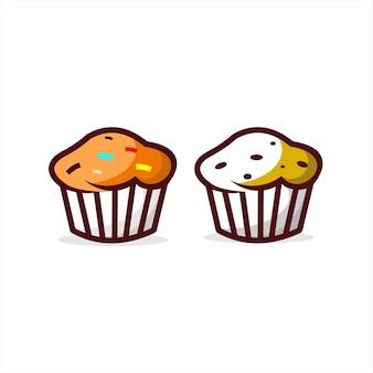 Gâteau d'icône de muffin de dessin animé amusant