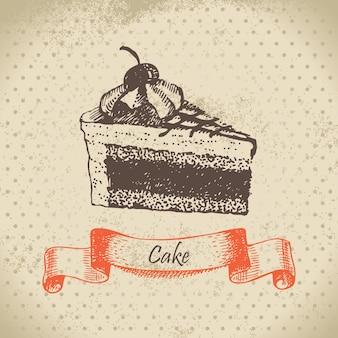 Gâteau. illustration dessinée à la main