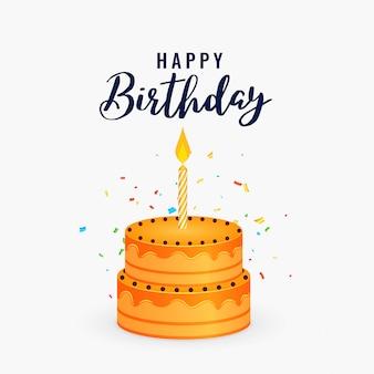 Gâteau de joyeux anniversaire avec fond de célébration de bougie