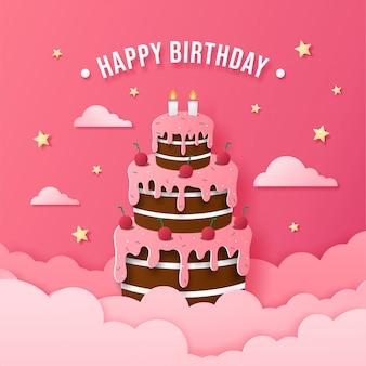 Gâteau de joyeux anniversaire en papier, carte de voeux prête à imprimer