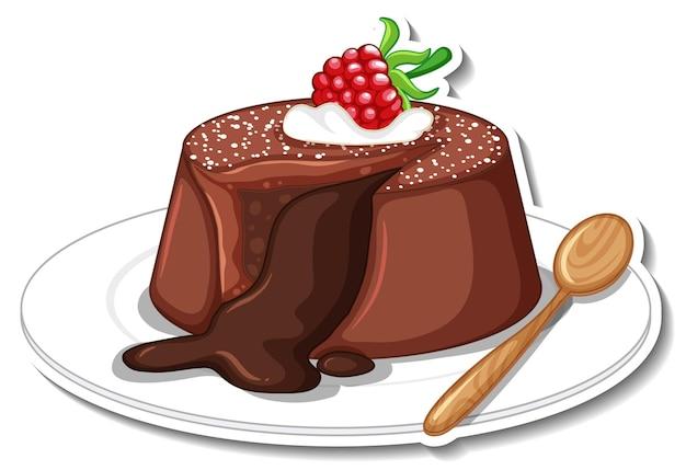 Gâteau de lave au chocolat avec autocollant framboise isolé sur fond blanc