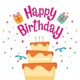 Gâteau avec lettre de joyeux anniversaire