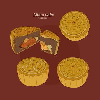 Gâteau de lune à la main dessiner des croquis vectoriels.
