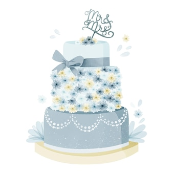 Gâteau de mariage aquarelle peint à la main avec topper