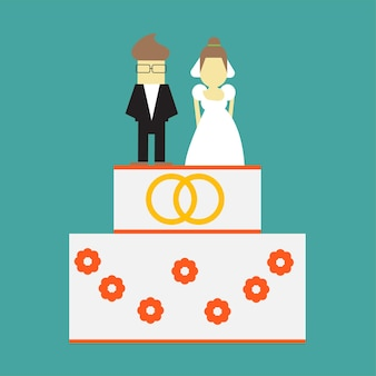 Gâteau de mariage avec bagues et toppers mariée et le marié vector illustration carte de voeux