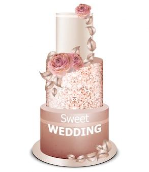 Gâteau de mariage décorations dorées et fleurs roses