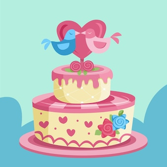Gâteau de mariage de dessin animé avec topper