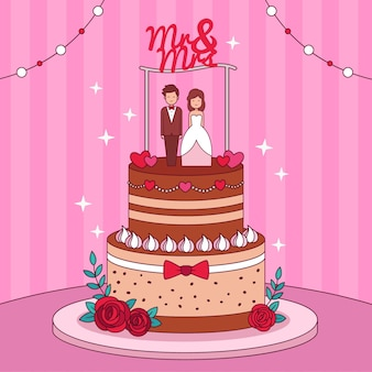 Gâteau de mariage dessiné à la main avec topper