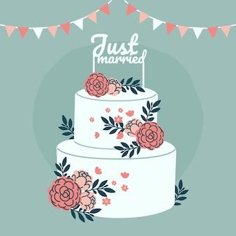 Gâteau de mariage plat avec topper