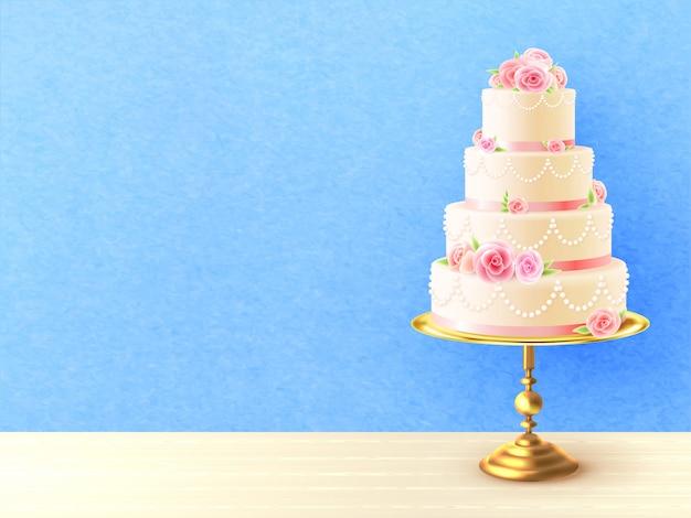 Gâteau de mariage avec des roses illustration réaliste