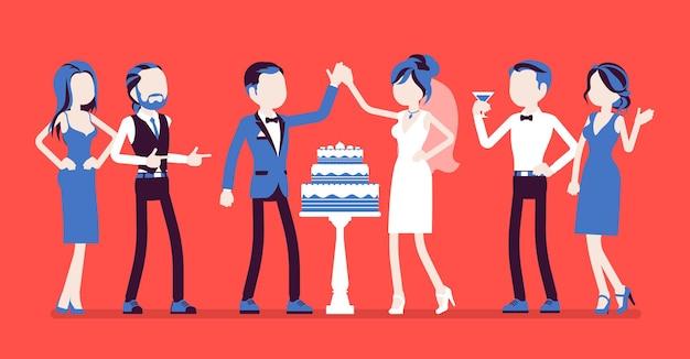 Gâteau De Mariage En Trois Niveaux Servi Pour Les Jeunes Mariés à La Réception Vecteur Premium