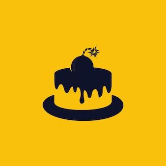 Gâteau avec modèle de conception de logo de bombe