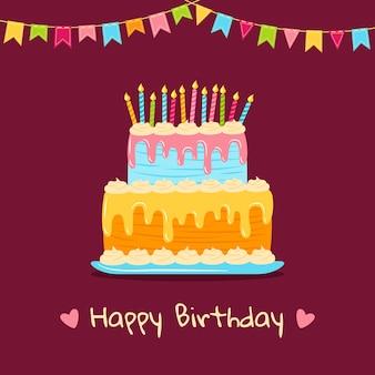 Gâteau plat de voeux d'anniversaire avec des étoiles et des drapeaux, de la crème. dessin animé délicieux dessert coloré.