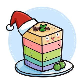 Gâteau rectangle coloré kawaii mignon et drôle portant le chapeau du père noël pour noël