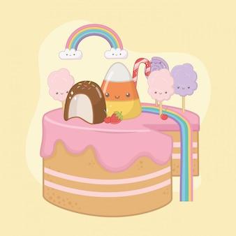 Gâteau sucré à la crème de fraise avec personnages kawaii