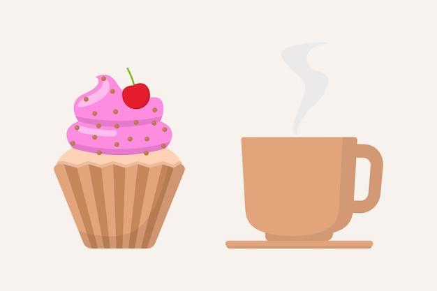 Gâteau et tasse à café design plat vector illustration