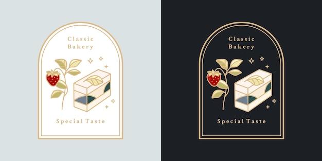 Gâteau vintage dessiné à la main, pâtisserie, éléments de logo de boulangerie avec cadre