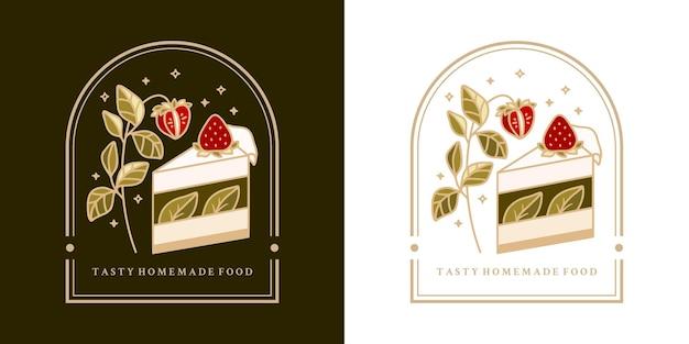 Gâteau vintage dessiné à la main, pâtisserie, logo de boulangerie avec fraise, branche de feuille et cadre