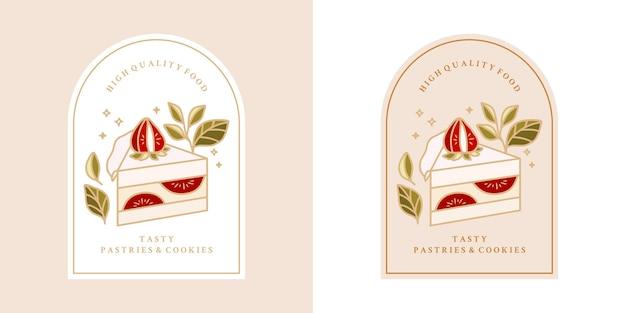Gâteau Vintage Dessiné à La Main, Pâtisserie, Logo De Boulangerie Avec Fraise, Branche De Feuille Et Cadre Vecteur Premium