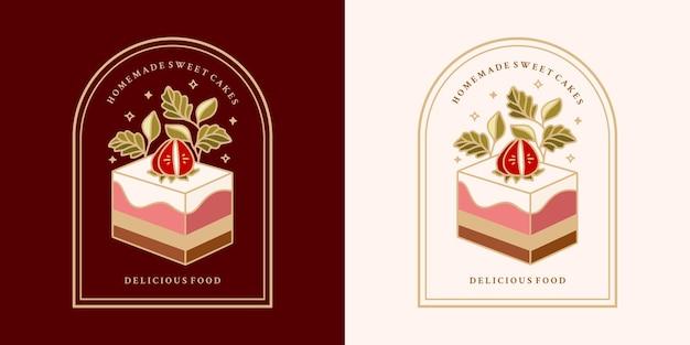 Gâteau Vintage Dessiné à La Main Vecteur Premium