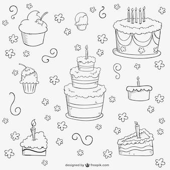 Gâteaux d'anniversaire griffonnages