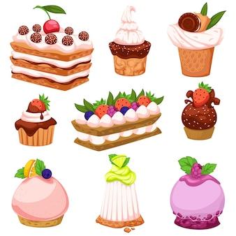 Gâteaux aux fruits et desserts avec mousse et fruits, baies et feuilles décoratives