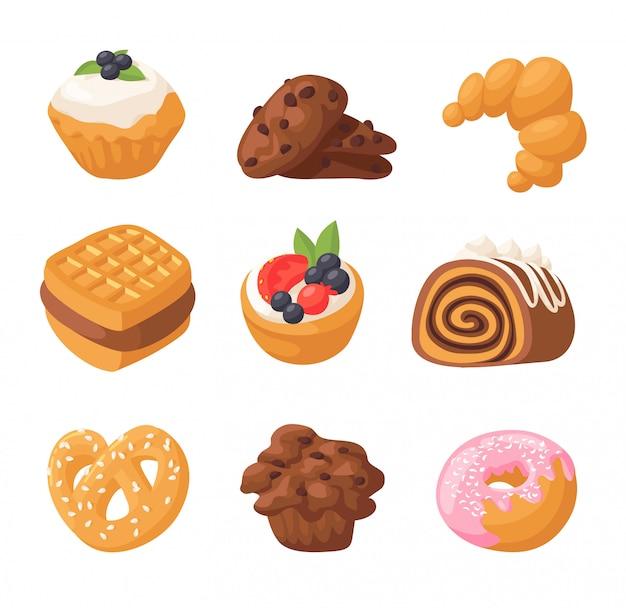 Gâteaux de biscuits vecteur isolé.