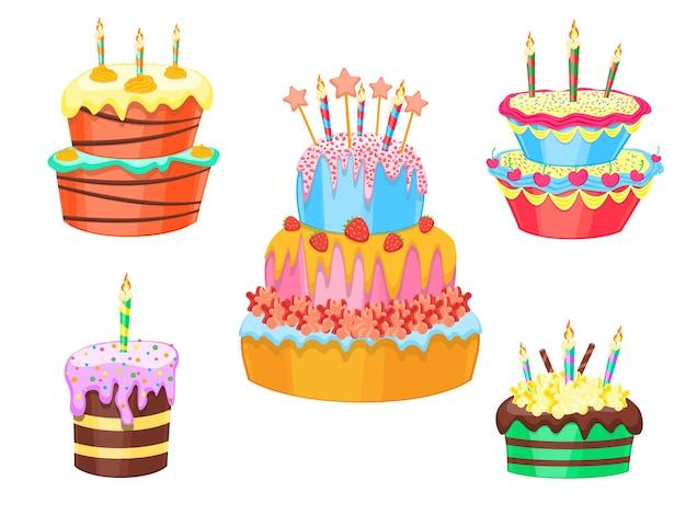 Gâteaux de couleur de dessin animé set anniversaire ou dessert sucré de mariage pour la fête de célébration. illustration vectorielle