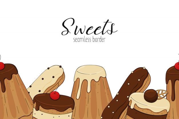 Gâteaux de frontière sans couture de pâtisserie de bonbons
