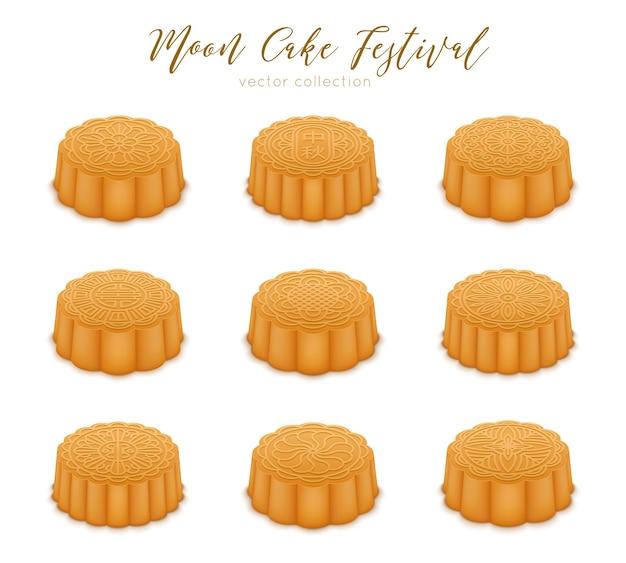 Gâteaux de lune fixés pour le festival de la mi-automne. désert chinois traditionnel pour la célébration joyeux mi automne.