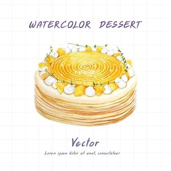 Gâteaux peints à l'aquarelle sur fond blanc.