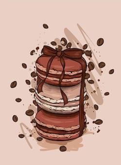 Gâteaux et ruban de macaron