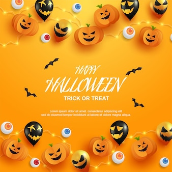 Gâterie ou astuce d'halloween avec des citrouilles et un style de coupe de papier ballon