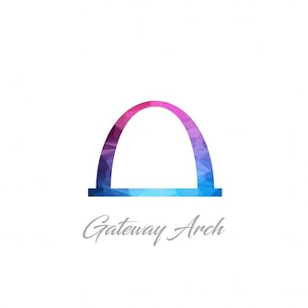 Gateway arch monument polygon logo