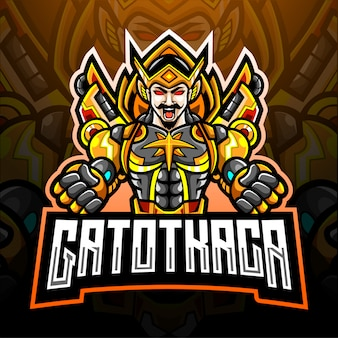 Gatot kaca esport logo mascot design